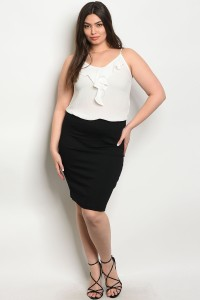 103-5-4-S2421X BLACK PLUS SIZE SKIRT 3-2-1