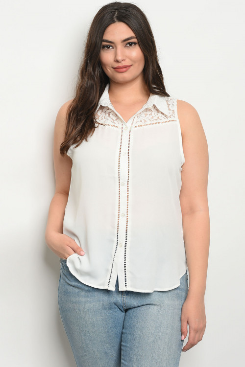 S9-2-5-T99025X IVORY PLUS SIZE TOP 3-2-1