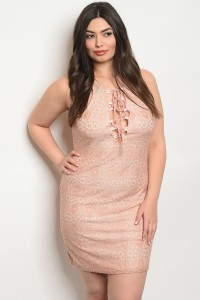 C53-A-2-D292X DUSTY PINK LACE PLUS SIZE DRESS 2-2-2