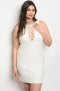 C51-A-5-D292X IVORY LACE PLUS SIZE DRESS 2-2-2