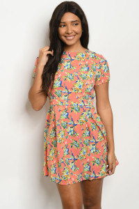 S11-12-4-DR8409 CORAL BLUE GREEN FLORAL PRINT DRESS 2-2-2