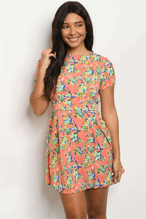 104-6-4-DR8409 CORAL BLUE GREEN FLORAL PRINT DRESS 2-2
