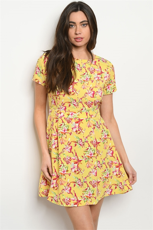 104-6-4-DR8409 YELLOW PINK GREEN FLORAL PRINT DRESS 1-4
