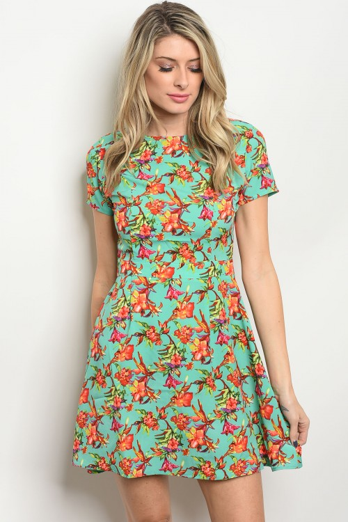 S11-12-4-DR8409 MINT RED GREEN FLORAL PRINT DRESS 2-2-2