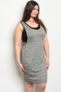 C99-A-4-D5739X GRAY IVORY BLACK PLUS SIZE DRESS 2-2-2
