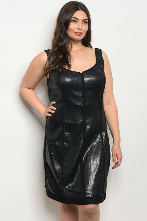 121-2-5-D228413 BLACK WITH SEQUINS PLUS SIZE DRESS 2-2-2
