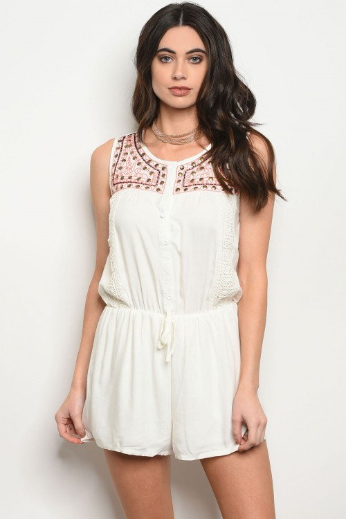 125-1-1-R8334 IVORY CORAL ROMPER 1-2-4