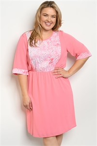 C52-A-4-D71685X PINK PLUS SIZE DRESS 2-2-2