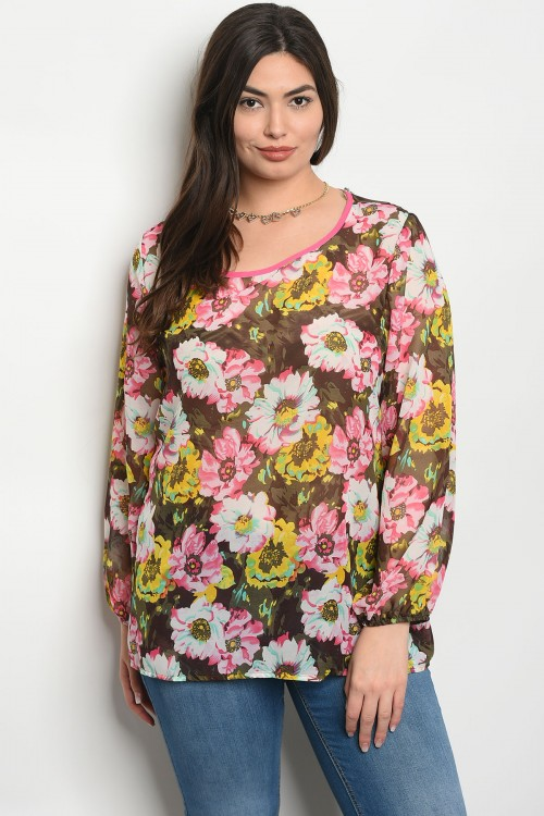 C90-A-4-T204X PINK YELLOW FLOWER PLUS SIZE TOP 2-2-2
