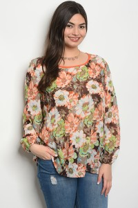 C57-A-6-T204X ORANGE BROWN FLOWER PLUS SIZE TOP 2-2-2