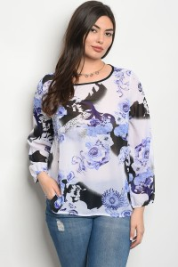 C37-A-6-T204X WHITE ROYAL FLOWER PLUS SIZE TOP 2-2-2