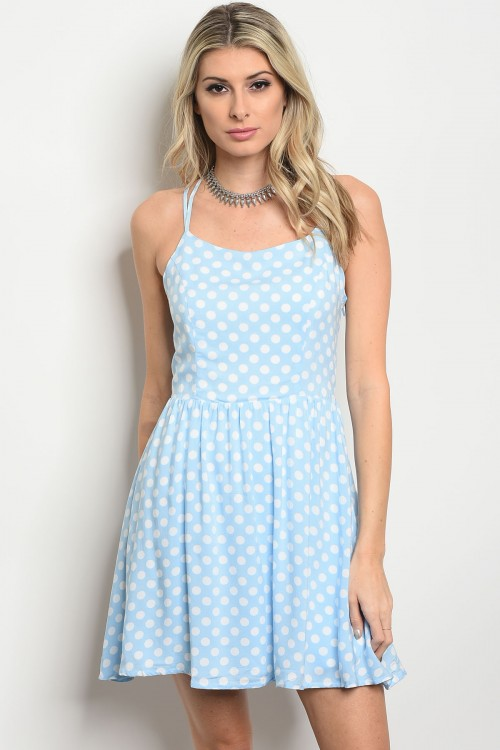 124-2-4-D410134 BABY BLUE WITH WHITE POLKA DOTS DRESS 2-2