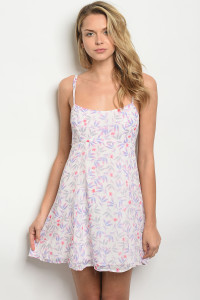 S16-11-5-NA-D6580 IVORY PINK LILAC FLORAL DRESS 3-2-1
