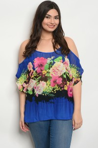 C98-B-4-T9720X ROYAL MAGENTA FLOWER PLUS SIZE TOP 2-2-2