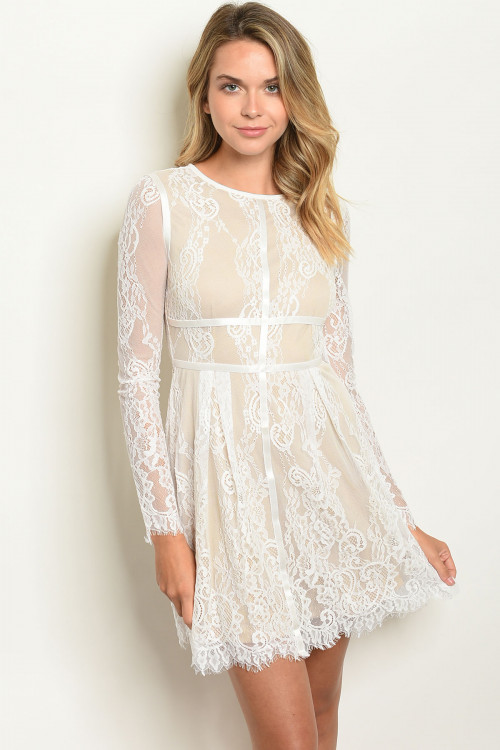 104-6-2-D2855 WHITE NUDE DRESS 2-2-2
