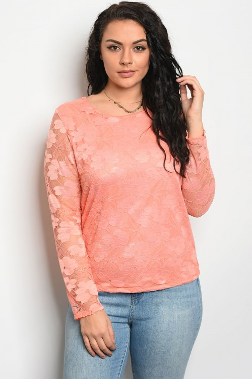 C99-B-2-T2410X ORANGE WITH LACE PLUS SIZE TOP 2-2-2