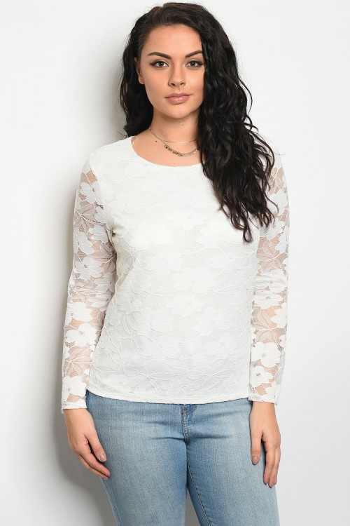 C83-A-1-T2410X IVORY WITH LACE PLUS SIZE TOP 3-1
