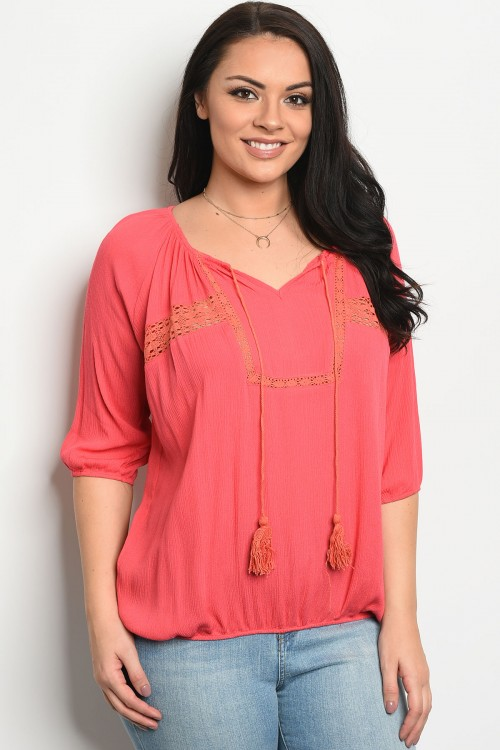 113-3-3-T8159X CORAL PLUS SIZE TOP 3-2-3