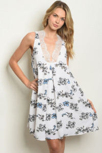S25-7-2-D0322 OFF WHITE FLORAL DRESS 4-1-2