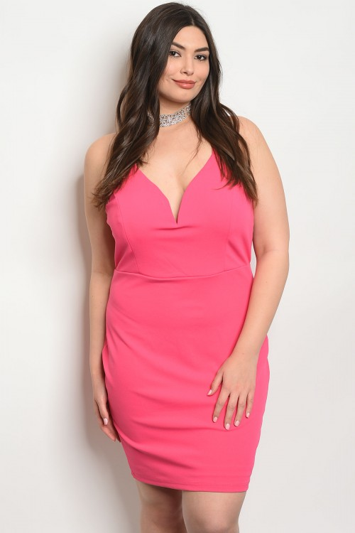 S17-1-3-D51571X FUCHSIA PLUS SIZE DRESS 2-2-2