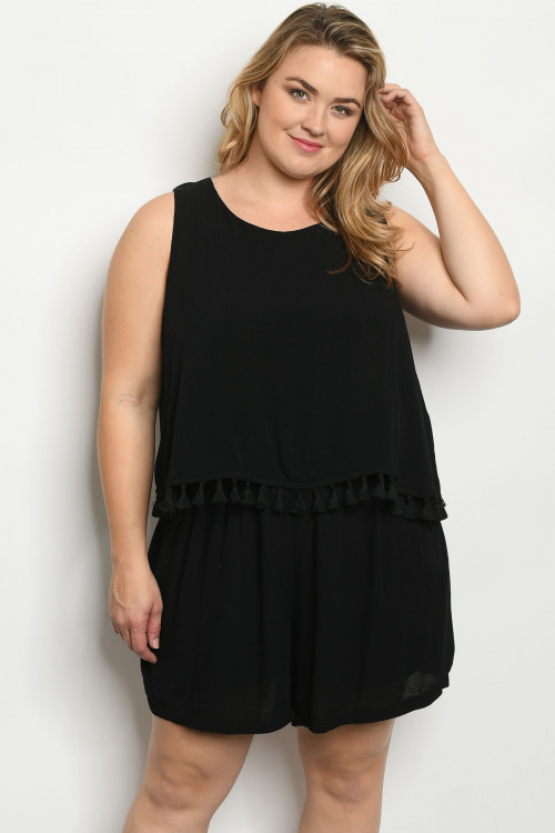 117-1-4-R4127X BLACK PLUS SIZE ROMPER 1-2-1