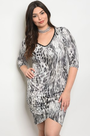 Y-A-6-D13881X GRAY BLACK PLUS SIZE DRESS 2-2-2