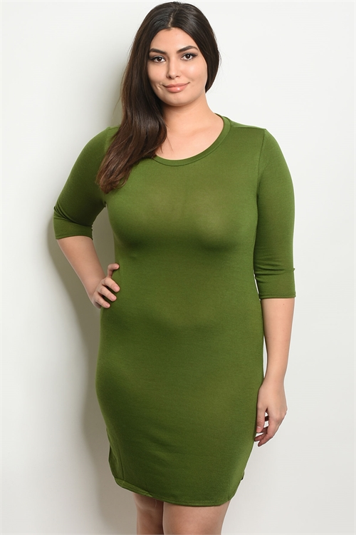 S18-3-2-D4897X GREEN PLUS SIZE DRESS 2-2-2