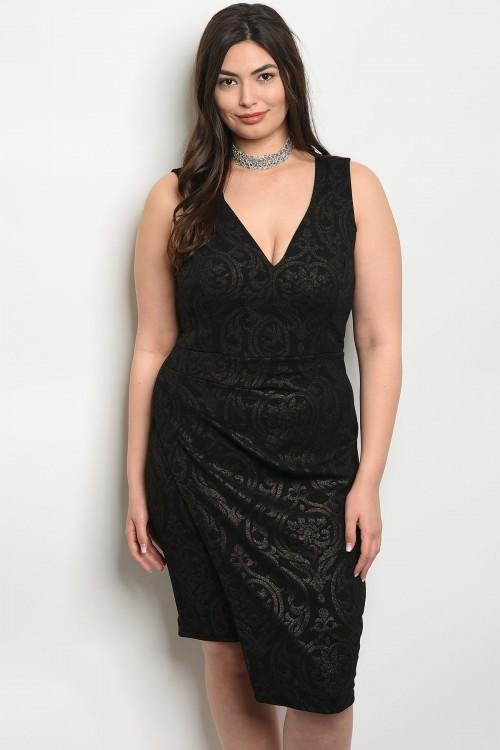 C95-A-2-D11563X BLACK WITH GOLD PLUS SIZE DRESS 2-2-2