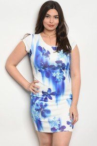 C96-A-3-D2626X WHITE ROYAL FLORAL PLUS SIZE DRESS 2-2-2
