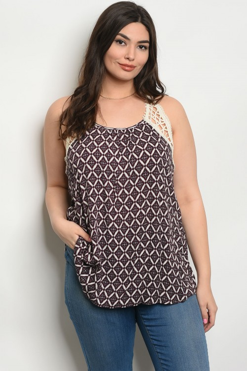 C100-B-3-T6238X MAGENTA IVORY CREAM PLUS SIZE TOP 2-2-2