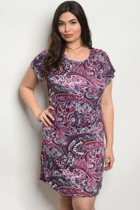 C75-A-4-D7427X FUCHSIA PURPLE PAISLEY PLUS SIZE DRESS 2-2-2
