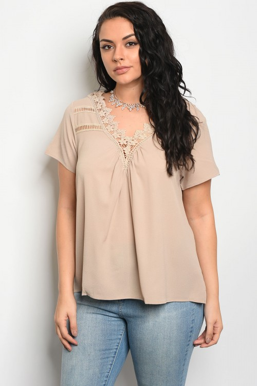 103-5-3-T3266X TAUPE PLUS SIZE TOP 2-2-2