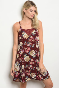 S16-8-3-D41454 WINE WITH FLOWER DRESS 2-2-2
