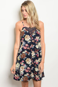 S14-12-4-D41454 NAVY WITH FLOWER DRESS 2-1-2