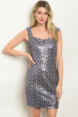 S19-3-4-D22219 BLUE GRAY SEQUINS DRESS 2-2-2