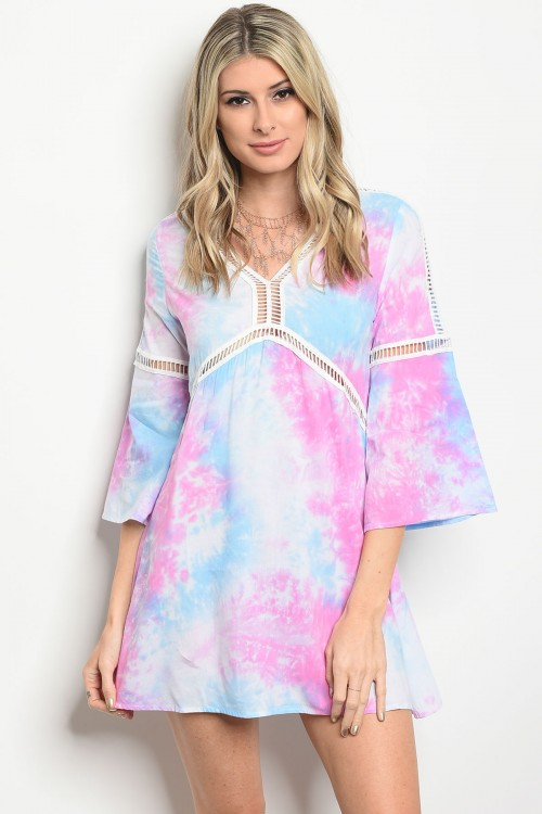 124-1-3-D1002 BLUE PINK TIE DYE DRESS 3-3-2