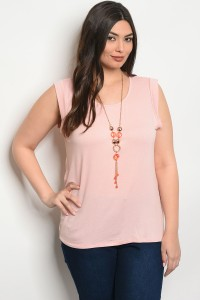 C92-B-6-TZ7709X BLUSH WITH NECKLACE PLUS SIZE TOP 2-2-2