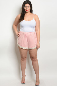C77-B-6-SZ7882X BLUSH IVORY PLUS SIZE SHORTS 2-2-2