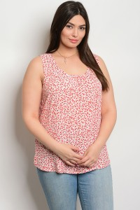 S10-18-4-TZB7693X CORAL WHITE PLUS SIZE TOP 2-2-2