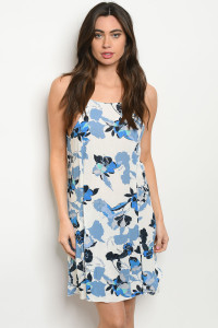 S22-9-4-D2030 WHITE BLUE FLORAL DRESS 2-2-2