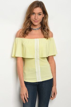 C50-B-1-T1607 LIME RUFFLE OFF SHOULDER TOP 3-3