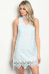 S8-3-5-D8369 BLUE CROCHET CHOKER DRESS 3-2-1