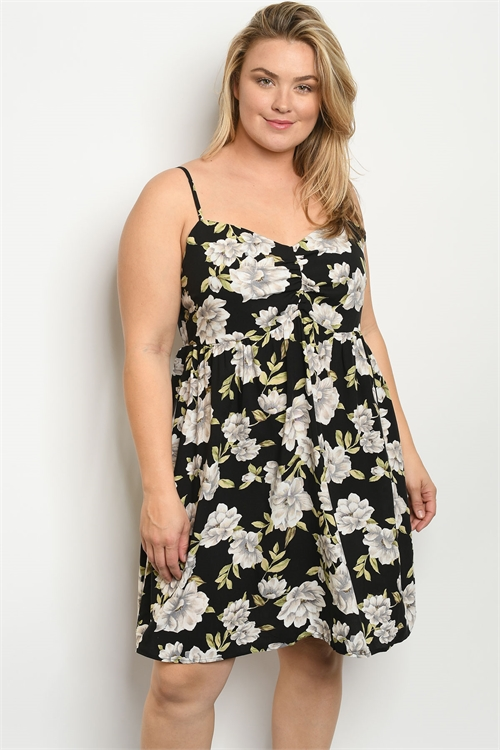 S11-18-2-D178062X BLACK FLORAL PLUS SIZE DRESS 2-1-3