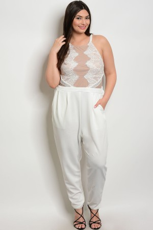 S9-15-4-J4817X IVORY TAN PLUS SIZE JUMPSUIT 2-2-2