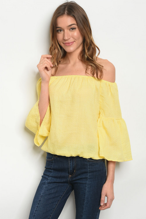 S18-2-1-TRP8677 YELLOW OFF SHOULDER TOP 2-2-2