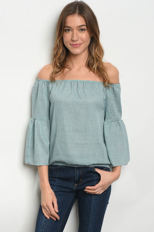 105-1-1-TRP8677 AQUA BLUE OFF SHOULDER TOP 2-2-2