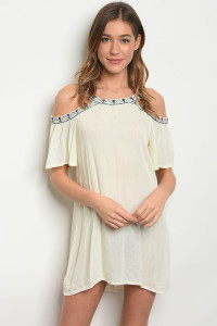 S8-12-3-TRP8275 CREAM COLD SHOULDER DRESS 2-2-2