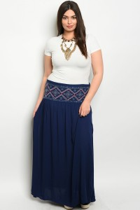 S12-3-3-S6071X NAVY PLUS SIZE SKIRT 2-2-2