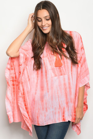 S16-6-4-T61011 CORAL TIE DYE TOP 3-2-1