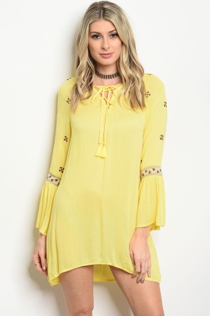 109-2-2-DR58335 YELLOW EMBROIDERY DRESS 2-2